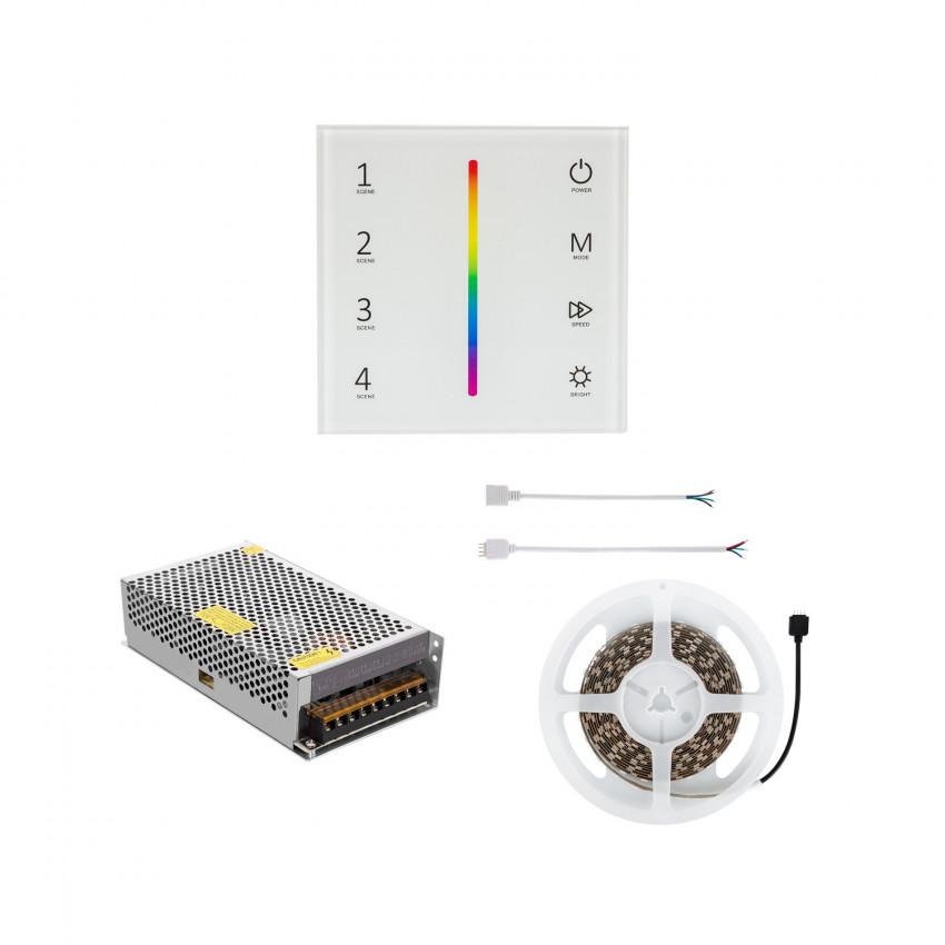 Fita LED 24V DC 60LED/m 5m RGB IP20 com Mecanismo Regulador Táctil e Alimentação