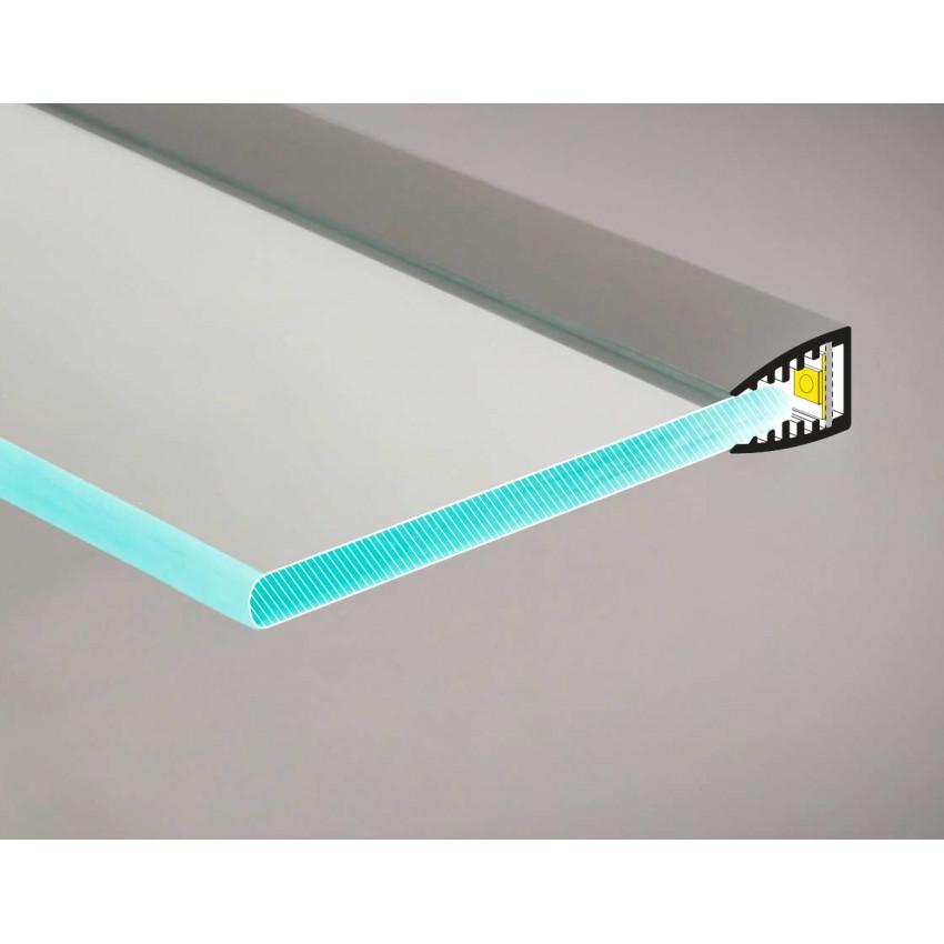 Perfil de Alumínio para Prateleira de Vidro 1m para Fitas de LED