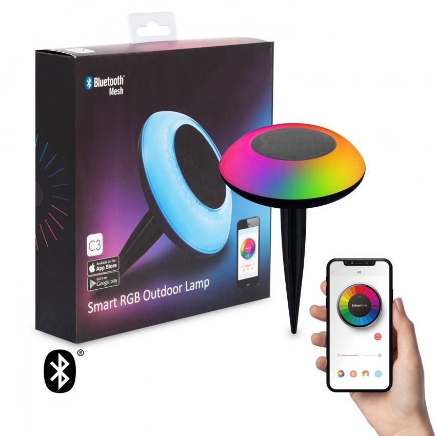 Baliza LED Solar RGBW con Pincho para exterior para Smartphone con Control Bluetooth IP65