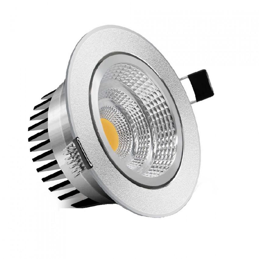 Foco Downlight LED 5W COB Direccionável Circular (UGR19) Prata Corte Ø 70 mm CRI90 Expert Color