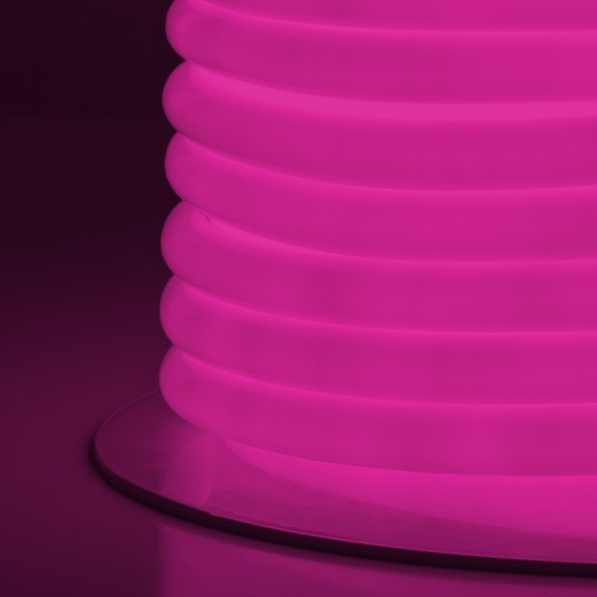 Rolo Neon LED Flexível Circular 360 120LED/m IP67 Rosa 50 Metros