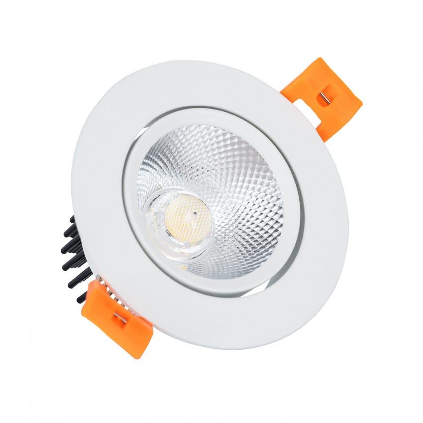 Foco Downlight LED 7W Regulável COB Direccionável Circular Branco Corte Ø 70 mm