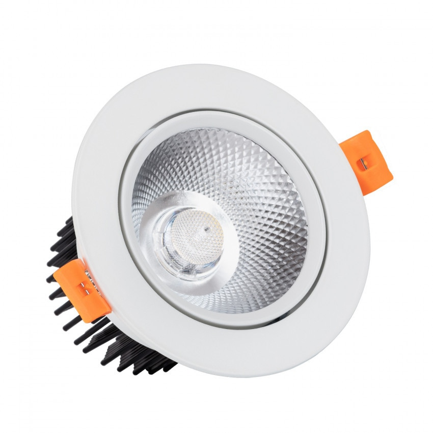 Foco Downlight LED 12W Regulable COB Direccionable Circular Blanco Corte Ø 90 mm