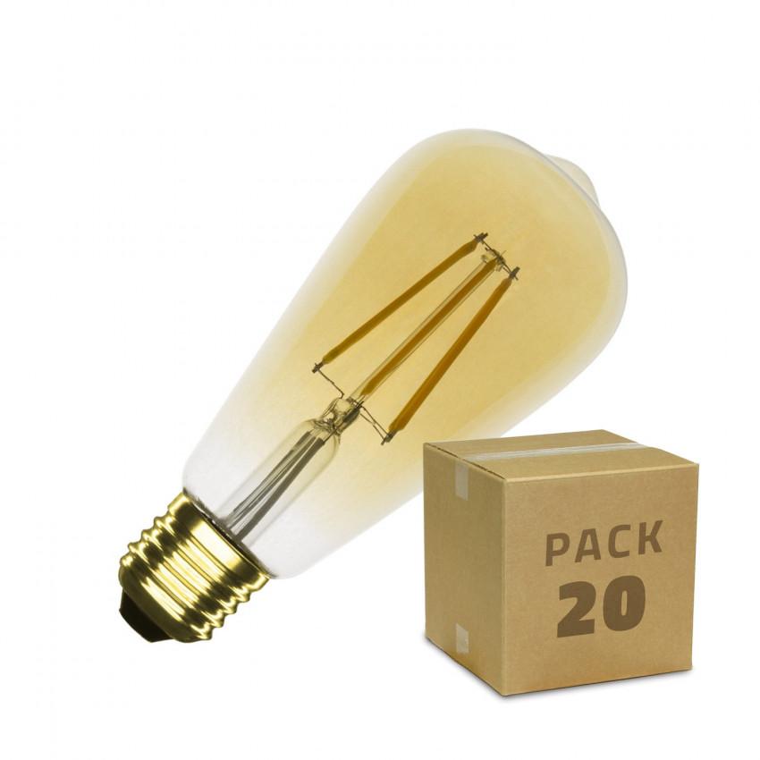 Caixa de 20  Lâmpadas LED E27 Regulável de Filamento Goldl Big Lemon ST64 5.5W Branco Quente