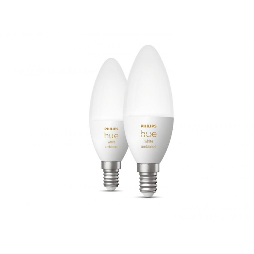 Pack 2 Bombillas LED E14 White Ambiance B39 5.2W PHILIPS Hue