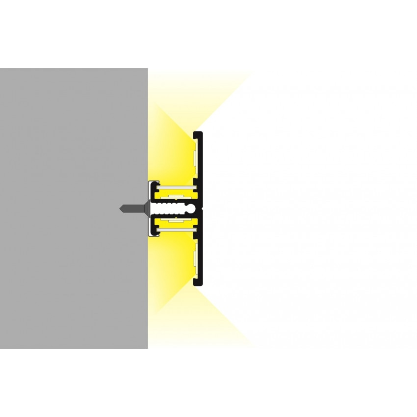 Perfil de Alumínio de Moldura Dupla 1m para Fitas LED Até 10mm