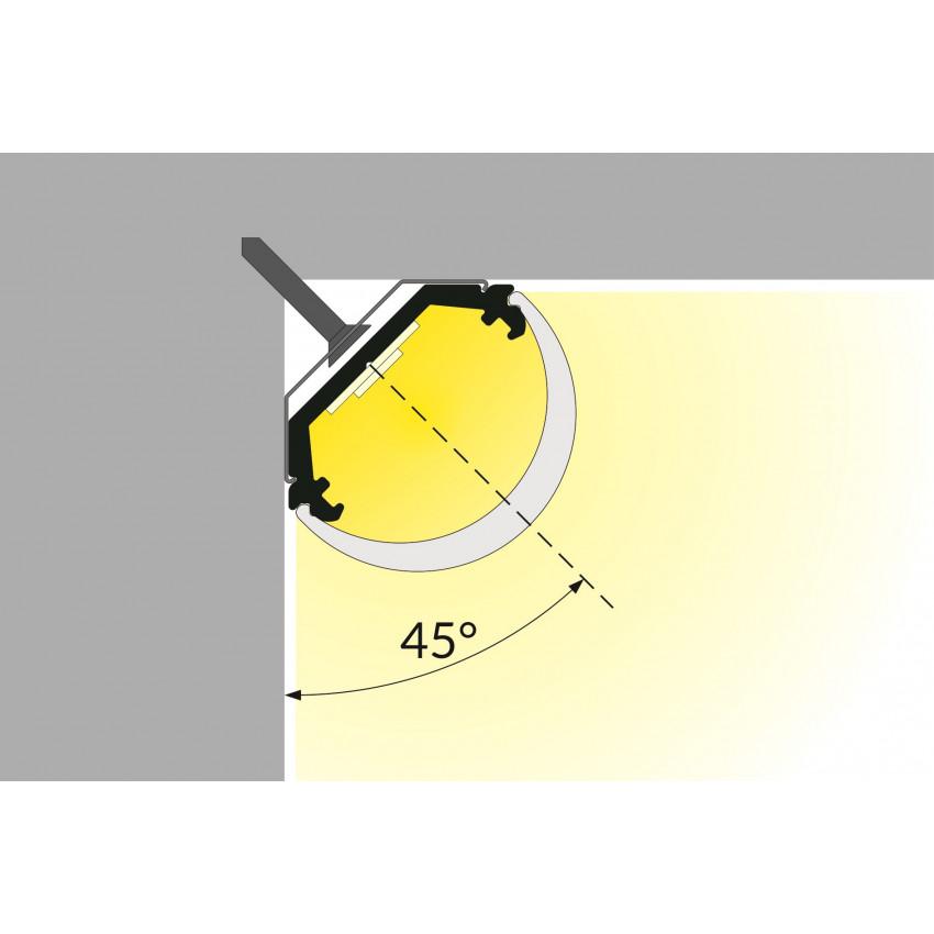 Perfil de Alumínio de Esquina 1m com Cobertura Circular para Fitas LED Até 10mm