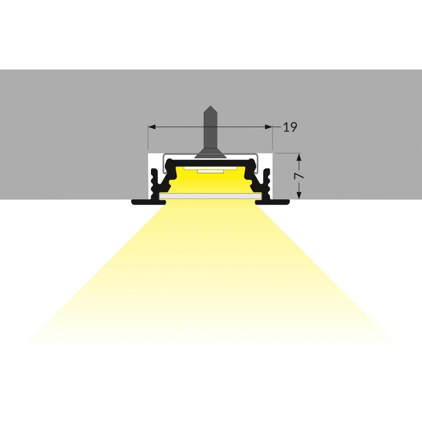 Perfil de Aluminio Empotrable 1m Tapa Deslizable para Tiras LED hasta 10 mm