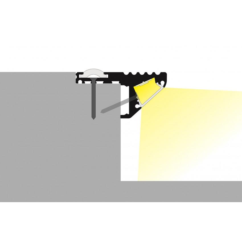 Perfil de Alumínio para Escada Dupla Iluminação 1m para Duas Fitas de LED Até 10mm