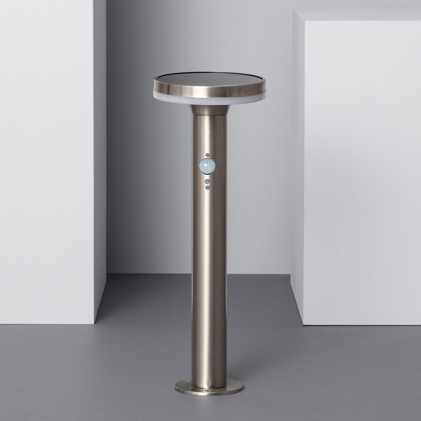 Baliza LED Solar Helios Inox con Detector de Movimiento PIR 45cm