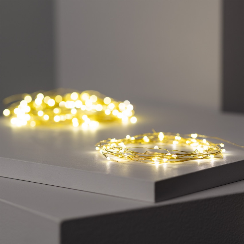 Guirnalda Alambre LED Dorada con Batería 5m/10m