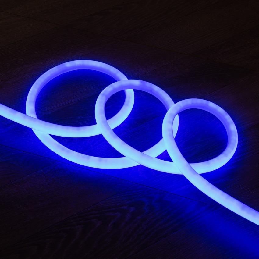 Fita Neon LED Regulável 220V AC 120 LED/m Circular 360 Azul IP67 à Medida Corte a cada 100 cm