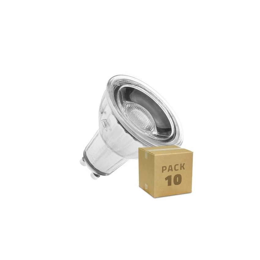 Pack 10 Lámparas LED GU10 Regulable COB Cristal 220V 7W