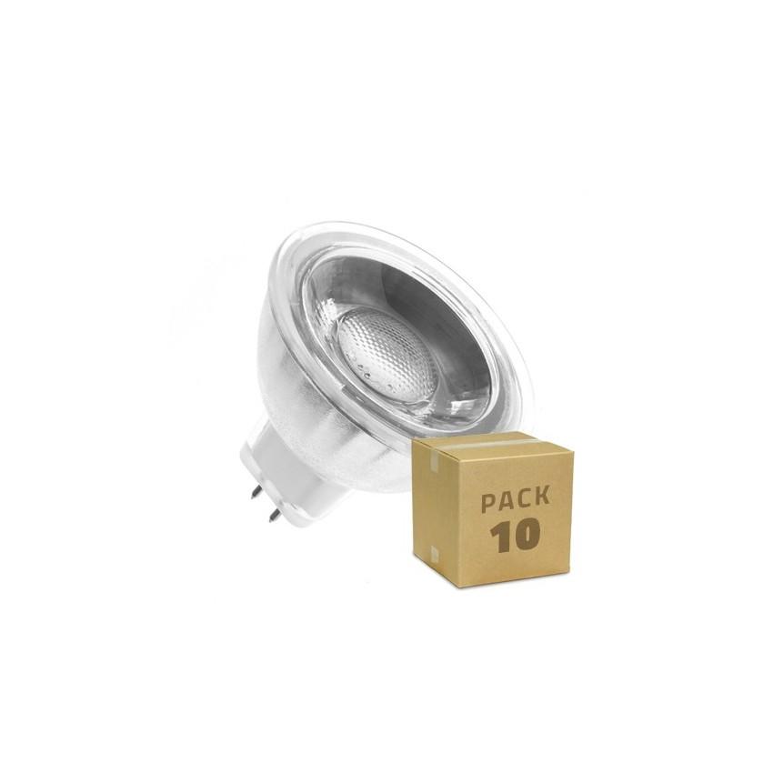 Pack 10 Lámparas LED GU5.3 MR16 COB Cristal 12V 5W