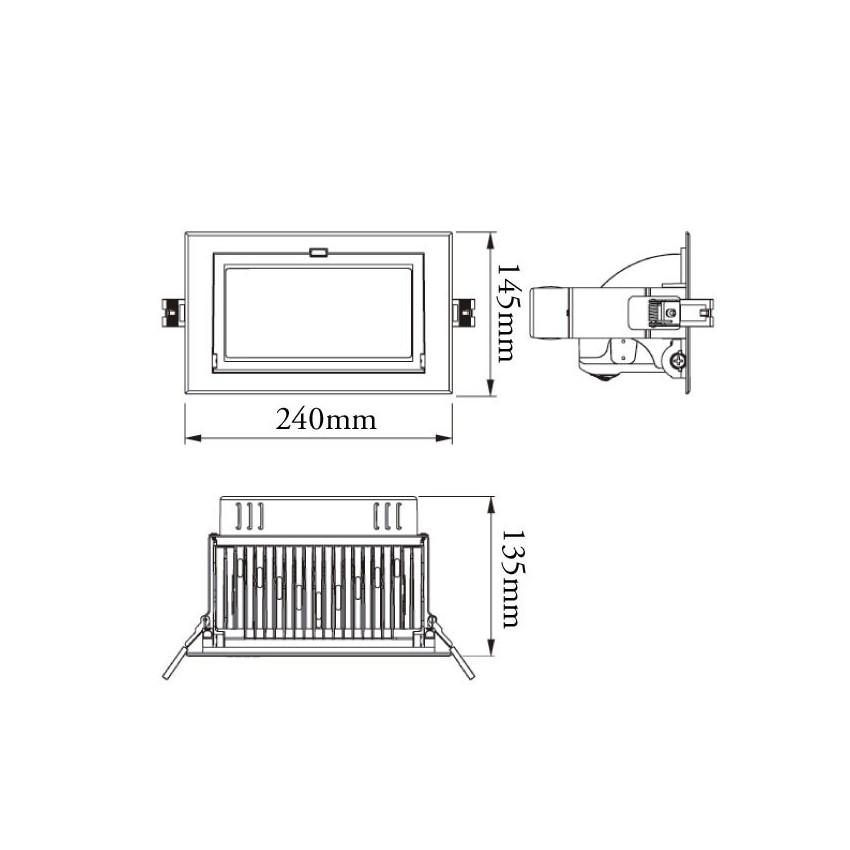 Foco Proyector Direccionable Rectangular LED Samsung 28W Black