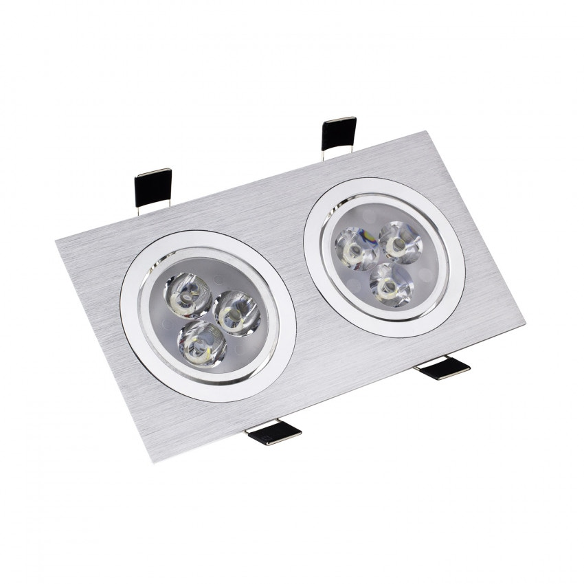 Foco Downlight LED Direccionable Rectangular 2x3x1W Corte Ø 65 mm (x2)